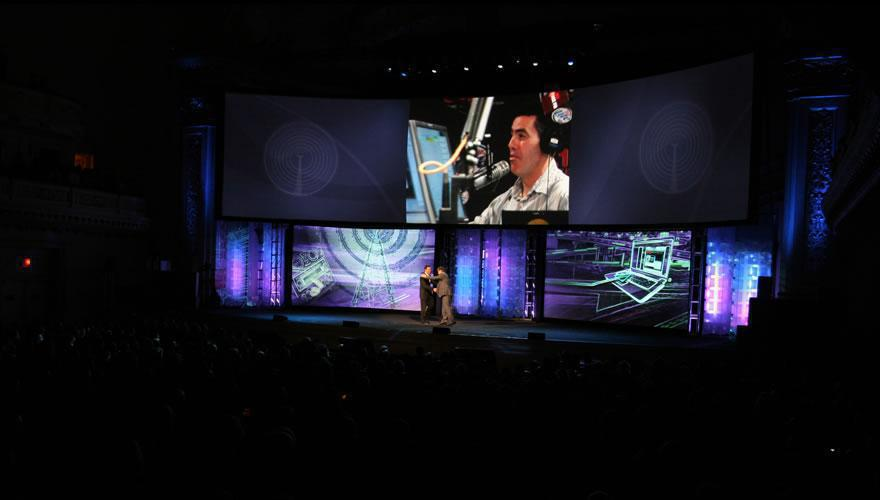 Photo 15 in '2008 CBS Upfront' gallery showcasing lighting design by Mike Baldassari of Mike-O-Matic Industries LLC