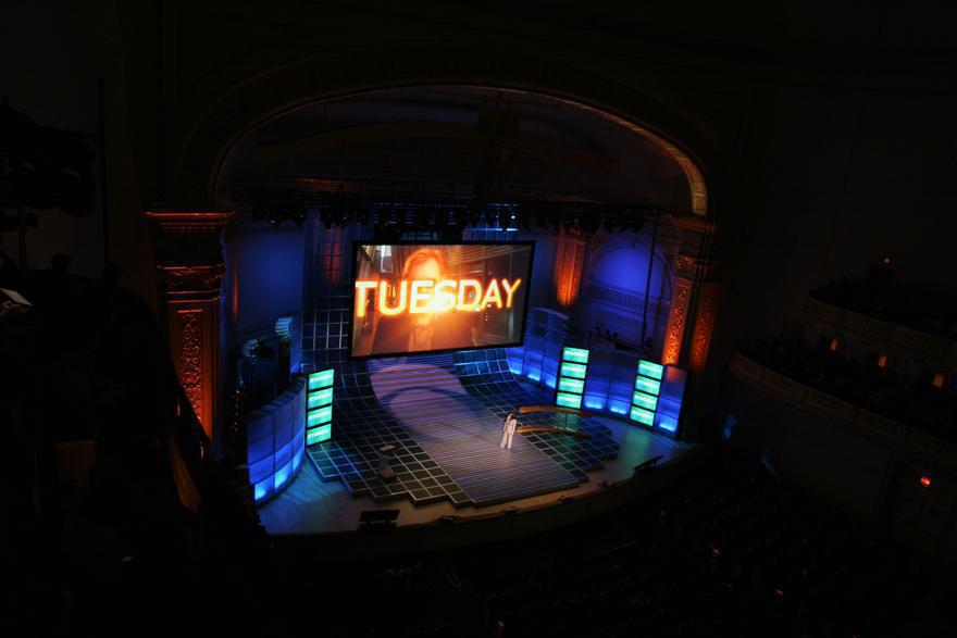 Photo 21 in '2007 CBS Upfront' gallery showcasing lighting design by Mike Baldassari of Mike-O-Matic Industries LLC